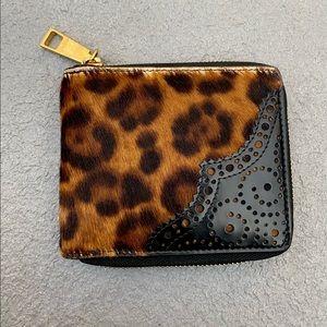 Versace Brand New Pony Skin Leopard Print Wallet